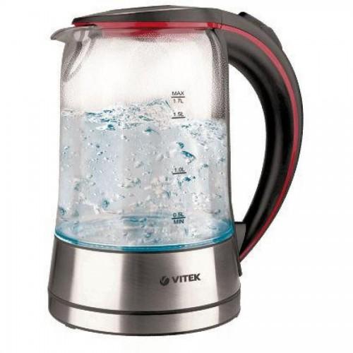 Чайник электрический Vitek VT-7009, 1,7 л, 2200Вт, черный с прозрачным корпусом (стекло)