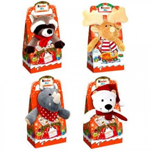 Подарок новогодний Ferrero Kinder Mix с мягкой игрушкой, 137,5 гр