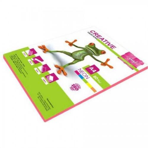 Бумага KRIS Неон 80гр, А4, 50л, розовый