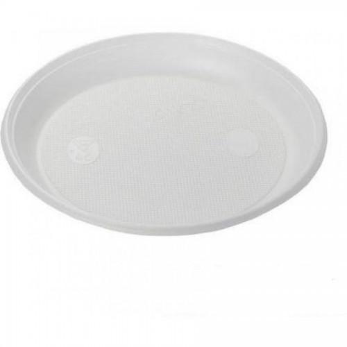 Тарелка одноразовая, d-20,5 см, 100 шт/уп, белый