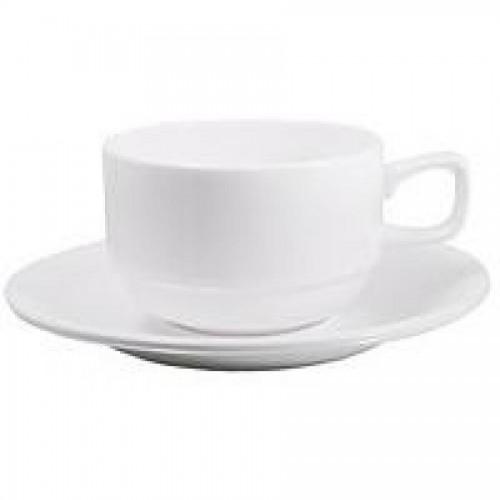 Чашка чайная WILMAX, 220 мл + блюдце, белый, 6 шт/упак
