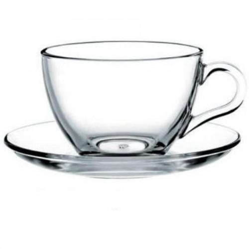 Набор чайный Pasabahce BASIC, чашка с блюдцем на 6 персон, 230 мл, стекло, прозрачный