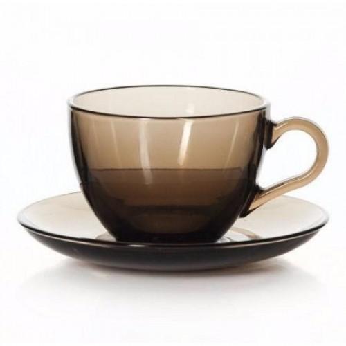 Набор чайный Pasabahce BASIC, чашка с блюдцем на 6 персон, 230 мл, стекло, бронзовый