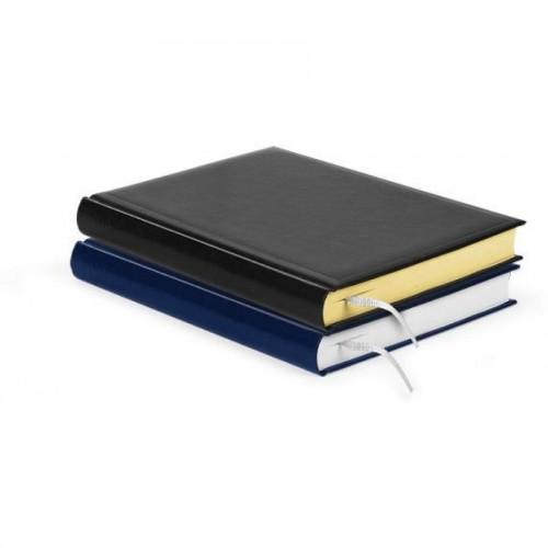 Ежедневник недатированный А5, черный, желтые страницы