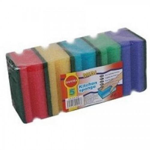 Губка с абразивом 95х70х45 мм разноцветный 5шт/уп. (FE30602)