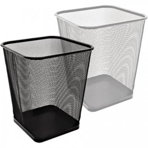Корзина для мусора квадратная, 28х28х30 см, метал., 12 л, черный