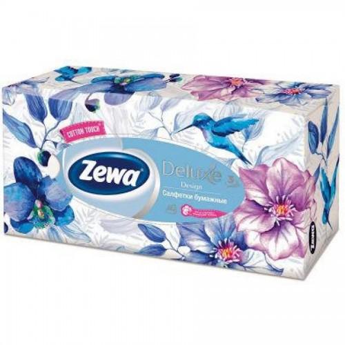 Салфетки косметические Zewa Deluxe, неароматизированные, 3 слойные, 90 штук/упак