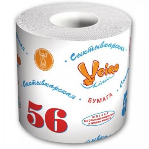 "Бумага туалетная Veiro Сыктывкарская ""56 Метров"", 1-слойная, белая"