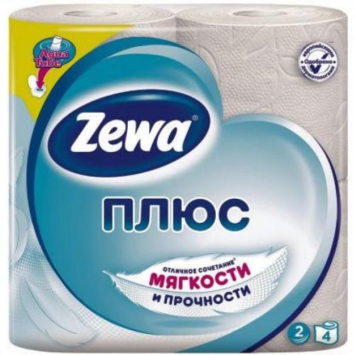 Бумага туалетная Zewa Плюс, 4 шт/уп, 2 сл., белая