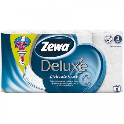 Бумага туалетная Zewa Deluxe, 8 шт/уп., 3 сл., Delicate Care