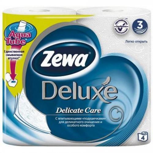 Бумага туалетная Zewa Deluxe, 4 шт/уп., 3 сл., белая