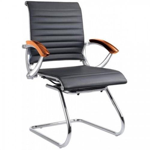 Кресло офисное Forpus LUCIA, на полозьях, черный, дерев. подлокотники