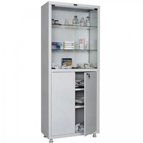 Шкаф металлический медицинский Hilfe 1670/SG, 1655х700х320 мм, 4 полки, стекл. двери, 35 кг, белый