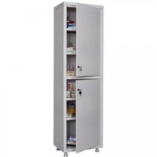 Шкаф металлический медицинский Hilfe 1650/SS, 1655х500х320 мм, 4 полки, метал. двери, 24 кг, белый