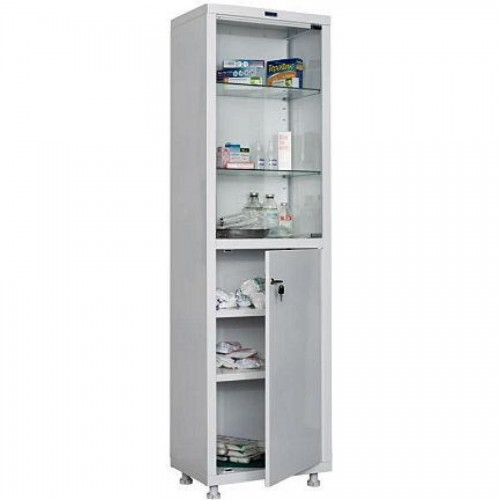 Шкаф металлический медицинский Hilfe 1650/SG, 1655х500х320 мм, 4 полки, стекл. двери, 27 кг, белый