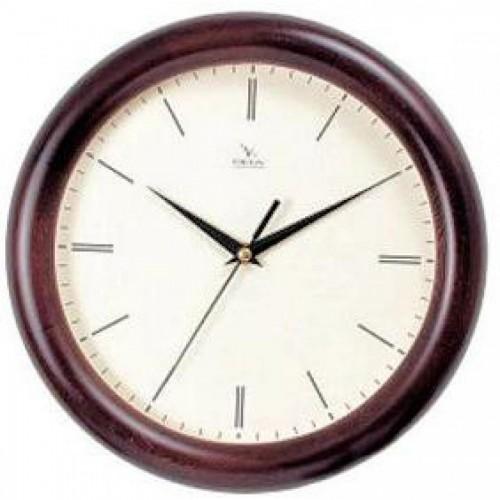 Часы настенные Вега Д1МДматовое/7-200, d-30 см, белый фон, деревянное кольцо
