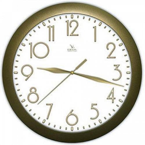 Часы настенные Вега П1-8/7-215, d-29 см, белый фон, золотистое кольцо