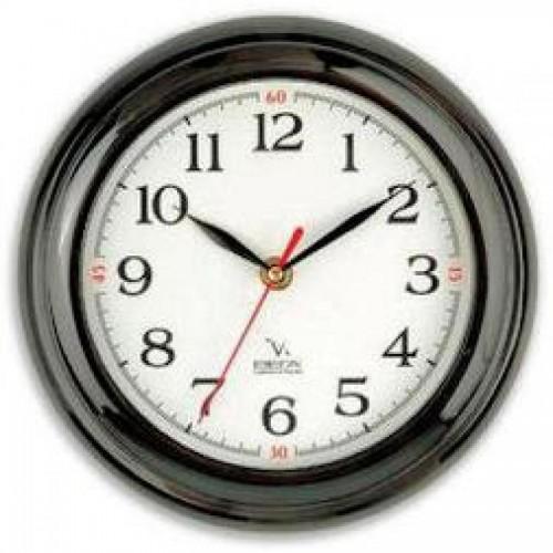 Часы настенные Вега П6-6-18, d-23 см, белый фон, черное кольцо