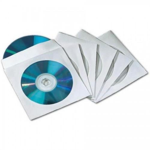 Конверт бумажный для CD-диска с окош.,100шт/уп.бел.