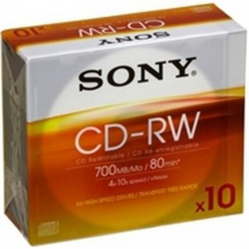 Диски перезаписываемые CD-RW Sony, 700Mb, 4х-10х, Slim