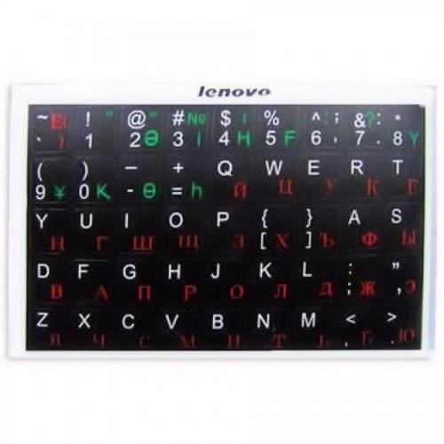 Наклейки на клавиатуру, черн. основа, рус/англ/каз алфавит