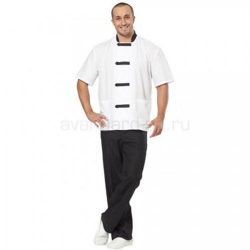 """Костюм повара """"Азия"""", мужской, белый с черной отделкой"""