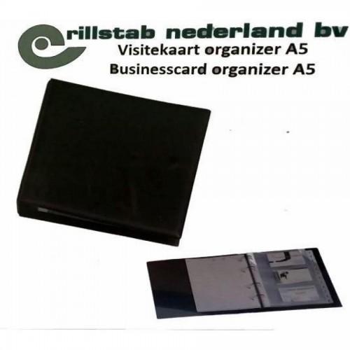 Визитница на 60 карточек Rillstab, на кольцах, А5, с разделителями, черный