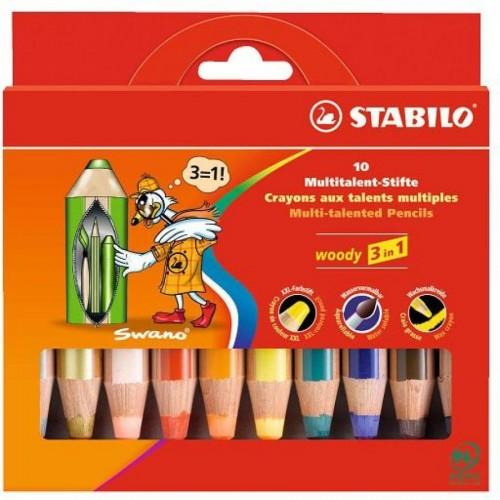 """Карандаши цветные наточенные Stabilo """"Woody 3 in 1"""" 10 цв., карт. упак. (880/10)"""