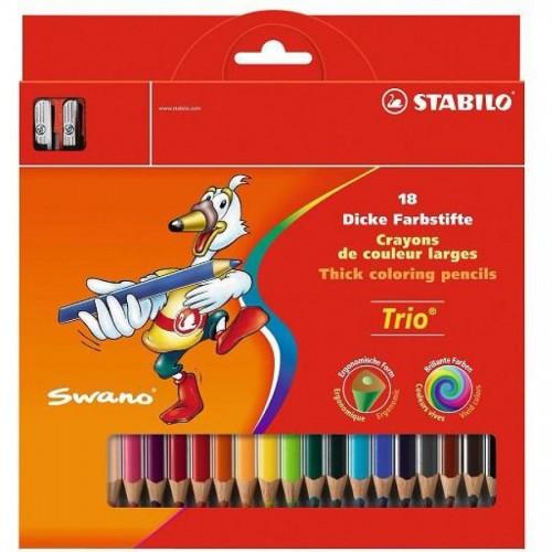 """Карандаши цветные наточенные Stabilo """"Trio"""" 18 цв., с точилкой, карт. упак. (203/2-18)"""