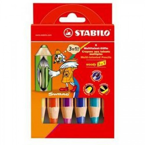 """Карандаши цветные наточенные Stabilo """"Woody 3 in 1"""" 6 цв., карт. упак. (8806)"""