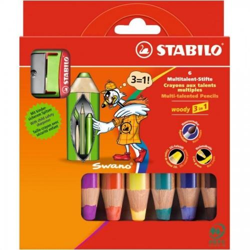 """Карандаши цветные наточенные Stabilo """"Woody 3 in 1"""" 6 цв., с точилкой, карт. упак. (8806-2)"""