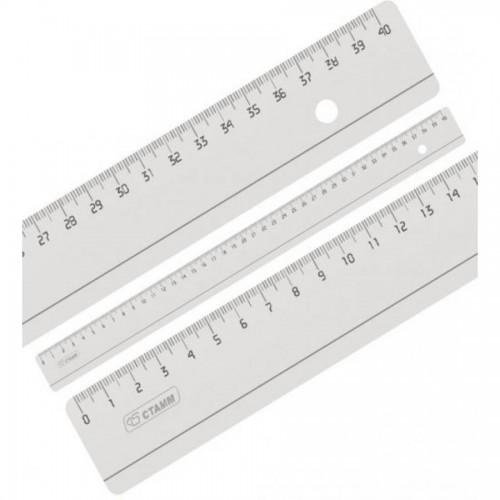 Линейка пластиковая, 40 см СТАММ ЛН53, прозрачная