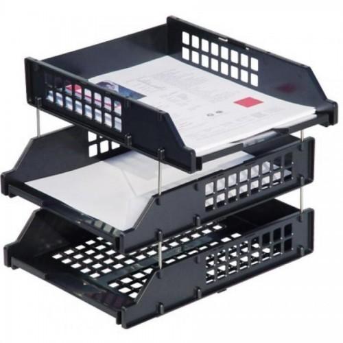 Набор из 3-х горизонтальных лотков СТАММ STRONG ЛТ112, на металлических стержнях, черный