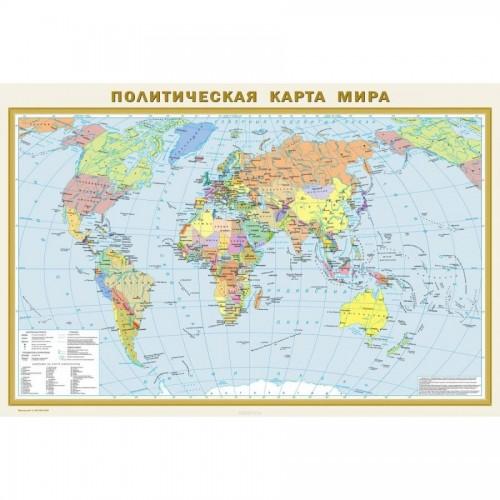 Карта Мира политическая 1х16000, 2х3 м, рус. яз, ламин.