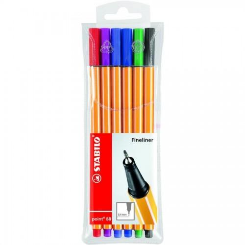 Набор капилярных ручек Stabilo point 88, 0,4 мм, 6 цветов (88/6)