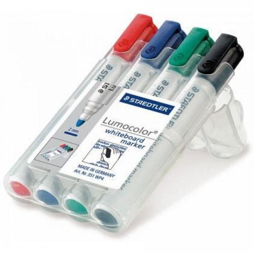 Набор маркеров для доски Staedtler Lumocolor 351, круглый, 2 мм, 4цв. в пенале (351WP4)