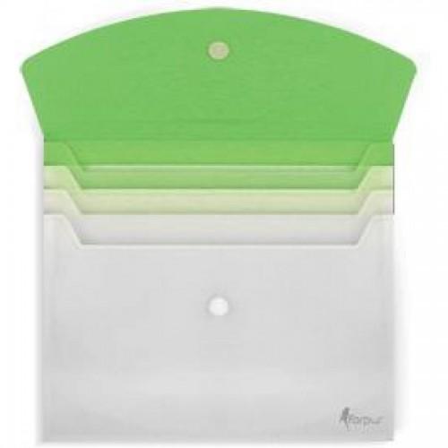 Папка-конверт на липучке, А4, с расширением, зеленый
