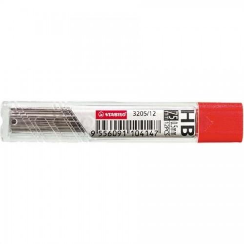 Грифели для мех. карандашей Stabilo, 0,5мм, HB, 12шт