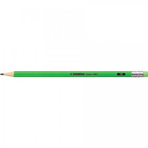 Карандаш простой Stabilo Swano Neon, HB, с ластиком, наточенный, ярко-зеленый корпус (4907/HB-33)