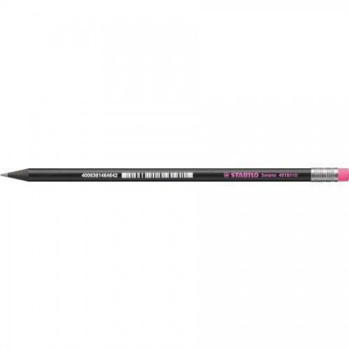 Карандаш простой Stabilo Black Neon, HB, с розовым ластиком, наточенный, черный корпус (4918/HB-56)