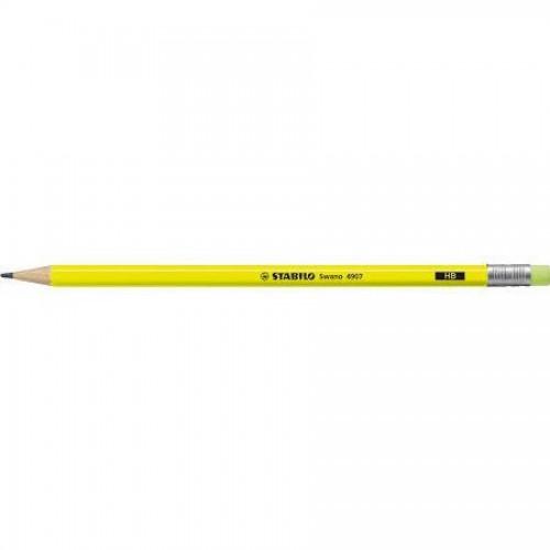 Карандаш простой Stabilo Swano Neon, HB, с ластиком, наточенный, ярко-желтый корпус (4907/HB-24)