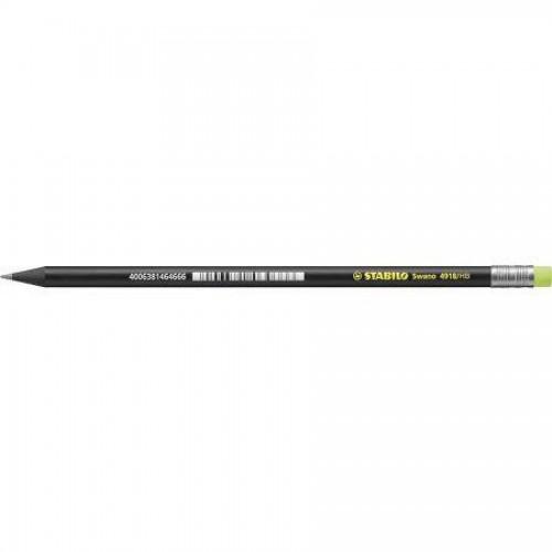 Карандаш простой Stabilo Black Neon, HB, с желтым ластиком, наточенный, черный корпус (4918/HB-24)