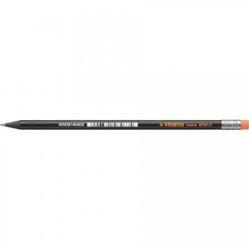 Карандаш простой Stabilo Black Neon, HB, с оранжев. ластиком, наточенный, черный корпус (4918/HB-54)