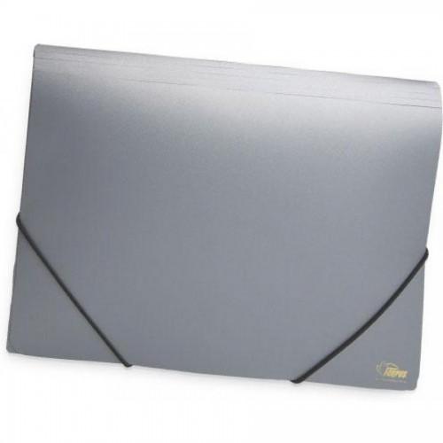 Папка для бумаг с резинками РР А4, серебро