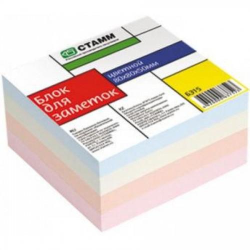 Бумага д/заметок СТАММ БЗ 15, 8х8х5 см, цветной (замена к 097-619)