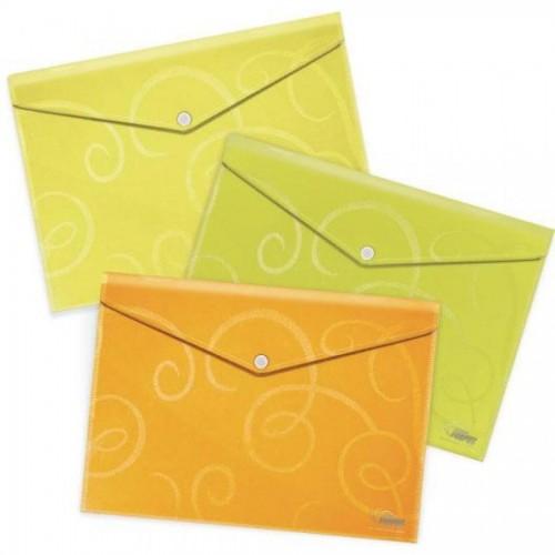 Папка-конверт на кнопке А4, Barocco, 1-80л., лимон