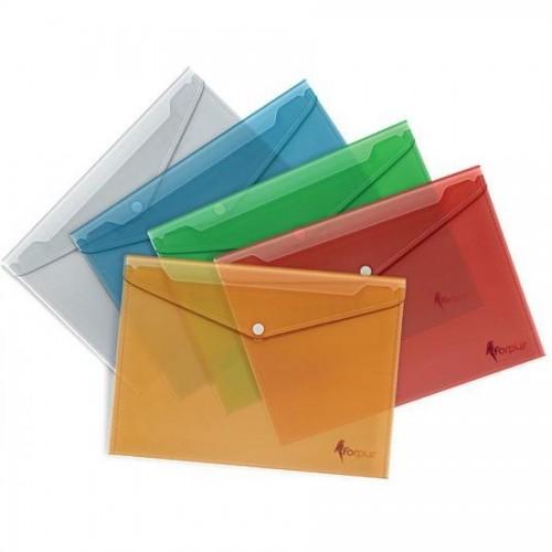 Папка-конверт на кнопке А4, РР, 1-100л., желтый