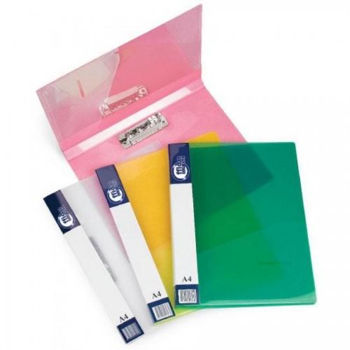 Папка для бумаг с прижимом РР А4, проз.-зеленый