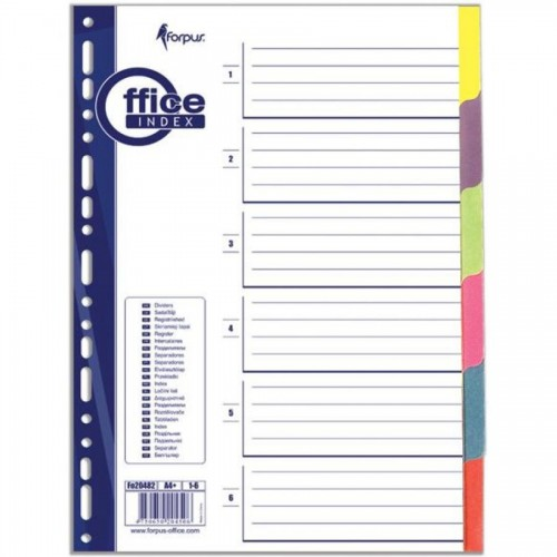 Разделители документов А4, 1-6 цвет, бумажный