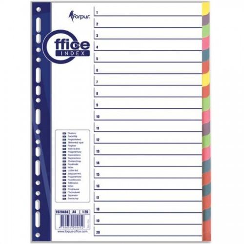Разделители документов А4, 1-20 цвет, бумажный